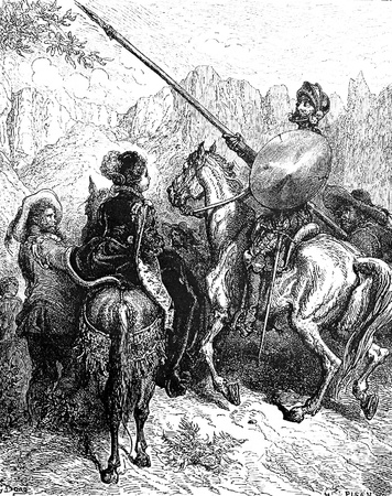 agrees: Don Quixote agrees to slay a giant for Dorotea-This picture is from Don Quixote, Edoardo Perino, the Italian edition published in 1888, Italy-Rome.The engraving is made by Gustave Dore. Editorial