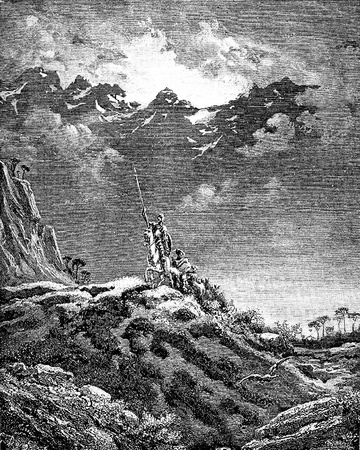The group sets out in the direction of Don Quixote-This picture is from Don Quixote, Edoardo Perino, the Italian edition published in 1888, Italy-Rome.The engraving is made by Gustave Dore. Editorial