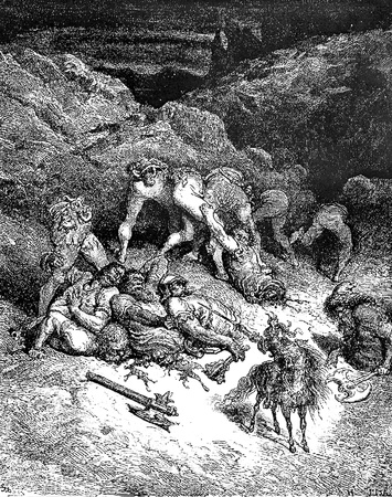 An exploit of Felixmarte of Hyrcania: chopping five giants-This picture is from Don Quixote, Edoardo Perino, the Italian edition published in 1888, Italy-Rome.The engraving is made by Gustave Dore.