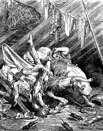 don quichotte: Maritornes est la cause innocente d'un combat Cette image est de Don Quichotte, Edoardo Perino, l'�dition italienne publi�e en 1888, l'Italie-Rome.The gravure est faite par Gustave Dor�. �ditoriale