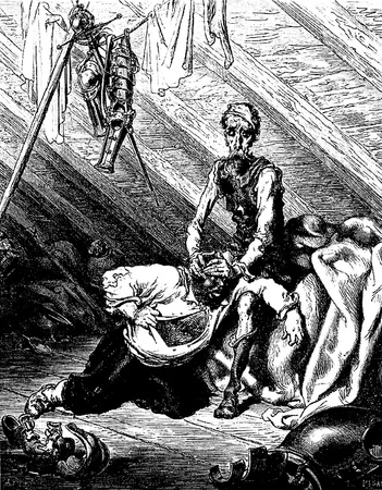 Bad effects of the medicine that was to heal Sancho-This picture is from Don Quixote, Edoardo Perino, the Italian edition published in 1888, Italy-Rome.The engraving is made by Gustave Dore.