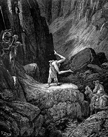 Sancho watches Don Quixote perform penitential tumbles -This picture is from Don Quixote, Edoardo Perino, the Italian edition published in 1888, Italy-Rome.The engraving is made by Gustave Dore. Editorial