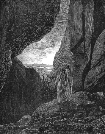 By that hidden way My guide and I did enter, to return to the fair world Etching-Picture is from the Vision of hell by Dante Alighieri, popular edition, published in 1892, London-England. Illustration by Gustave Dore Editorial