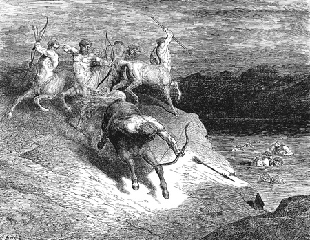 Circle 7 of Hell: The Violent-Picture is from the Vision of hell by Dante Alighieri, popular edition, published in 1892, London-England. Illustration by Gustave Dore