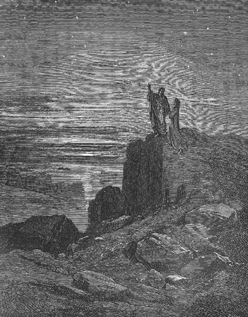Thus issuing we again beheld the stars-Picture is from the Vision of hell by Dante Alighieri, popular edition, published in 1892, London-England. Illustration by Gustave Dore
