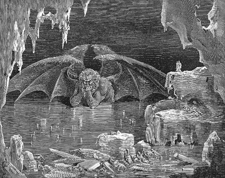 Inferno Satan-Picture is from the Vision of hell by Dante Alighieri, popular edition, published in 1892, London-England. Illustration by Gustave Dore Editorial