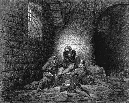 canto: Ugolino in the cell with his four dead sons-Picture is from the Vision of hell by Dante Alighieri, popular edition, published in 1892, London-England. Illustration by Gustave Dore