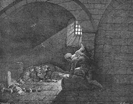 canto: Ugolino in the cell-Picture is from the Vision of hell by Dante Alighieri, popular edition, published in 1892, London-England. Illustration by Gustave Dore