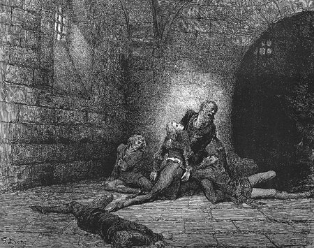 dante alighieri: Then, not to make them sadder, I kept down my spirit in stillness-Picture is from the Vision of hell by Dante Alighieri, popular edition, published in 1892, London-England. Illustration by Gustave Dore