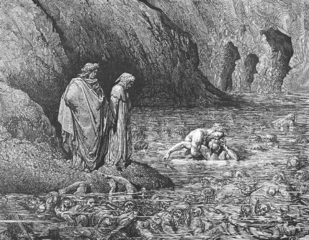 Ugolino gnaws upon the head of Archbishop Ruggieri-Picture is from the Vision of hell by Dante Alighieri, popular edition, published in 1892, London-England. Illustration by Gustave Dore