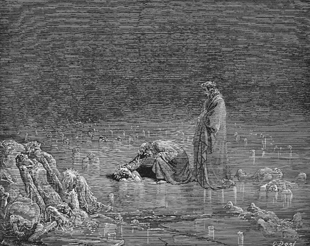 Then seizing on his hinder scalp, I cried: �Name thee, or not a hair shall tarry here.�-Picture is from the Vision of hell by Dante Alighieri, popular edition, published in 1892, London-England. Illustration by Gustave Dore