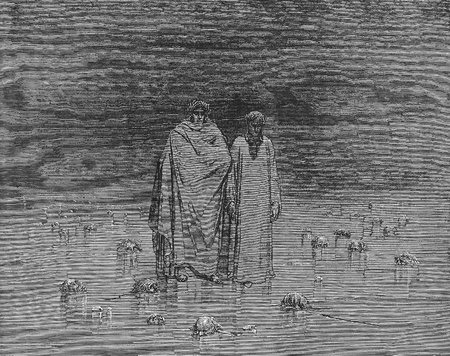 canto: The inferno Canto 32-Picture is from the Vision of hell by Dante Alighieri, popular edition, published in 1892, London-England. Illustration by Gustave Dore