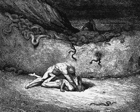 canto: That sprite of air is Schicchi-Picture is from the Vision of hell by Dante Alighieri, popular edition, published in 1892, London-England. Illustration by Gustave Dore Editorial