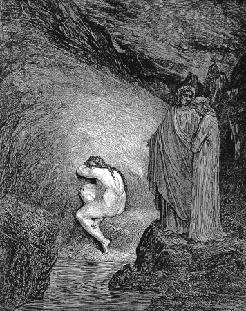 Myrrha, condemned for incest-Picture is from the Vision of hell by Dante Alighieri, popular edition, published in 1892, London-England. Illustration by Gustave Dore