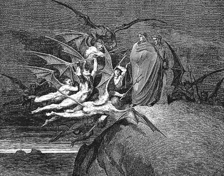 canto: Be none of you outrageous-Picture is from the Vision of hell by Dante Alighieri, popular edition, published in 1892, London-England. Illustration by Gustave Dore
