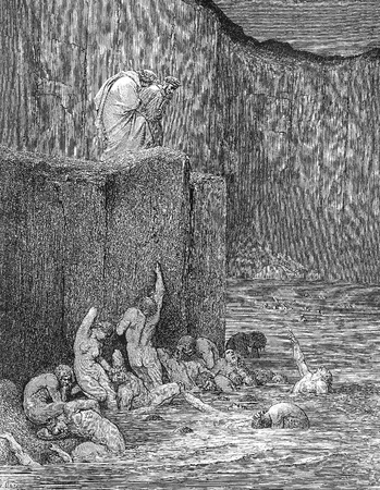 Why greedily thus bendest more on me, Than on these other filthy ones, thy ken-Picture is from the Vision of hell by Dante Alighieri, popular edition, published in 1892, London-England. Illustration by Gustave Dore