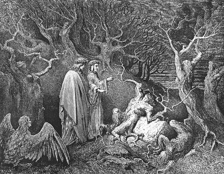 The Inferno, canto 13-Picture is from the Vision of hell by Dante Alighieri, popular edition, published in 1892, London-England. Illustration by Gustave Dore