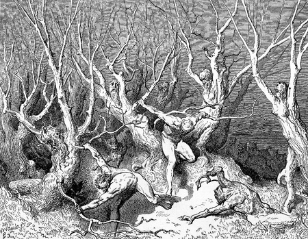 cried: The foremost cried-Picture is from the Vision of hell by Dante Alighieri, popular edition, published in 1892, London-England. Illustration by Gustave Dore Editorial