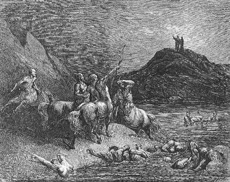 dante alighieri: Nessus and the centaurs-Picture is from the Vision of hell by Dante Alighieri, popular edition, published in 1892, London-England. Illustration by Gustave Dore Editorial