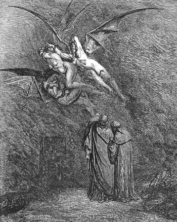 canto: The hideous Erinyes: Megaera, Tisiphone, Alecto-Picture is from the Vision of hell by Dante Alighieri, popular edition, published in 1892, London-England. Illustration by Gustave Dore Editorial