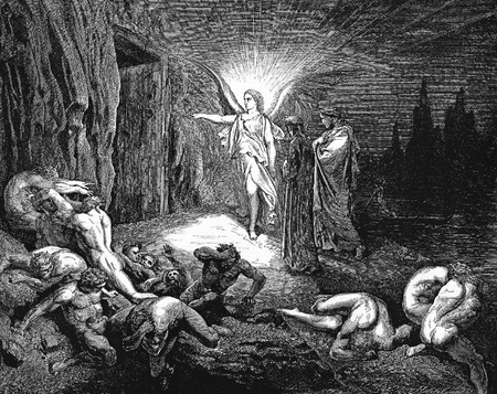 The angel opens the gates-Picture is from the Vision of hell by Dante Alighieri, popular edition, published in 1892, London-England. Illustration by Gustave Dore Editorial