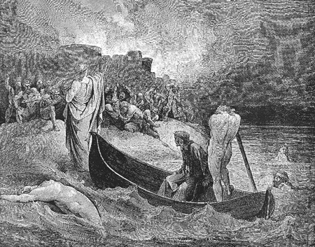 virgil: Virgil rebukes Plutus at the entrance to the fourth circle-Picture is from the Vision of hell by Dante Alighieri, popular edition, published in 1892, London-England. Illustration by Gustave Dore Editorial