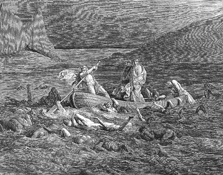 Ride across the River Styx-Picture is from the Vision of hell by Dante Alighieri, popular edition, published in 1892, London-England. Illustration by Gustave Dore