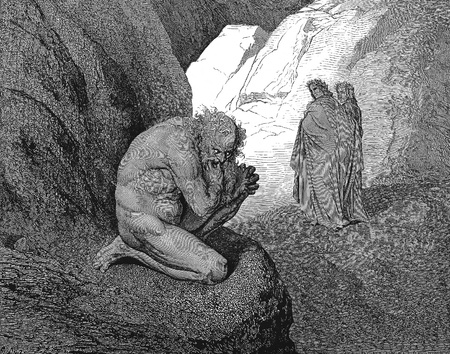 Entrance to the fourth circle-Picture is from the Vision of hell by Dante Alighieri, popular edition, published in 1892, London-England. Illustration by Gustave Dore
