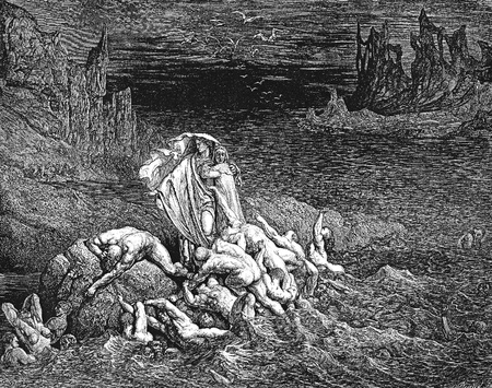 virgil: Virgil Shows Dante the Souls of the Wrathful-Picture is from the Vision of hell by Dante Alighieri, popular edition, published in 1892, London-England. Illustration by Gustave Dore Editorial