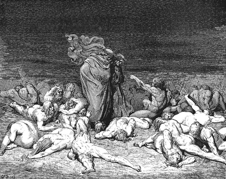 virgil: Virgil and Dante disembark at the citadel of Dis-Picture is from the Vision of hell by Dante Alighieri, popular edition, published in 1892, London-England. Illustration by Gustave Dore