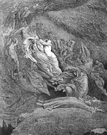 dagvaarding: De Heer, de soeverein, stuurt zijn oproep weer-Picture is van de Visie van de hel van Dante Alighieri, populaire editie, gepubliceerd in 1892, Londen-Engeland. Illustratie door Gustave Dore