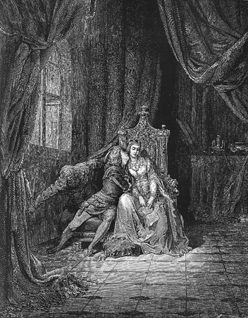 dante alighieri: In its leaves that day We read no more-Picture is from the Vision of hell by Dante Alighieri, popular edition, published in 1892, London-England. Illustration by Gustave Dore
