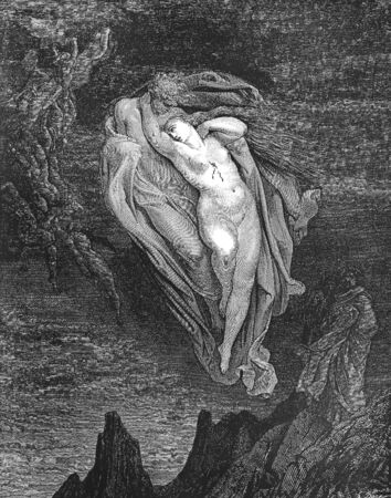 dante alighieri: Bard! willingly I would address those two together coming, Which seem so light before the wind-Picture is from the Vision of hell by Dante Alighieri, popular edition, published in 1892, London-England. Illustration by Gustave Dore