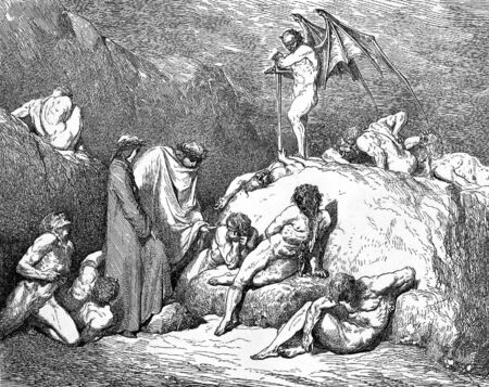dante alighieri: Suicide forest-Picture is from the Vision of hell by Dante Alighieri, popular edition, published in 1892, London-England. Illustration by Gustave Dore