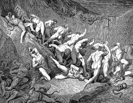 The thieves tormented by serpents-Picture is from the Vision of hell by Dante Alighieri, popular edition, published in 1892, London-England. Illustration by Gustave Dore Editorial