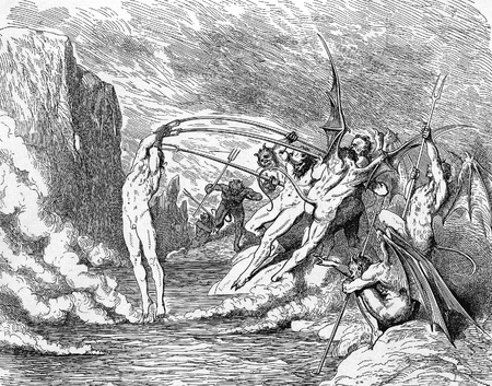 Devils torment the barrators-Picture is from the Vision of hell by Dante Alighieri, popular edition, published in 1892, London-England. Illustration by Gustave Dore Editorial