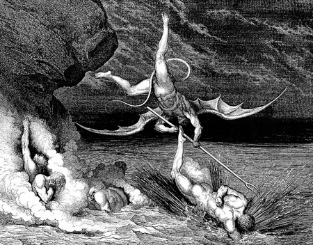 dante alighieri: Ciampolo of Navarre struggles with Alichino-Picture is from the Vision of hell by Dante Alighieri, popular edition, published in 1892, London-England. Illustration by Gustave Dore