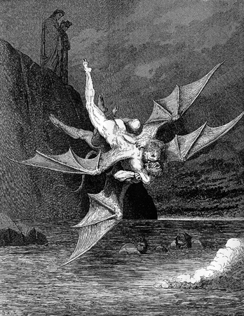 grapple: Alichino and Calcabrina grapple above the pitch-Picture is from the Vision of hell by Dante Alighieri, popular edition, published in 1892, London-England. Illustration by Gustave Dore