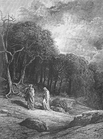 Vivien and Merlin enter the woods-Picture is from Idylls of the King by Lord Tennyson, published by HURST & CO in 1910, London-England. Illustrations by Gustave Dore.