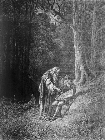 Merlin paints the young Knight-Picture is from Idylls of the King by Lord Tennyson, published by HURST & CO in 1910, London-England. Illustrations by Gustave Dore.
