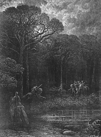 Geraint charges the bandits-Picture is from Idylls of the King by Lord Tennyson, published by HURST & CO in 1910, London-England. Illustrations by Gustave Dore. Editorial