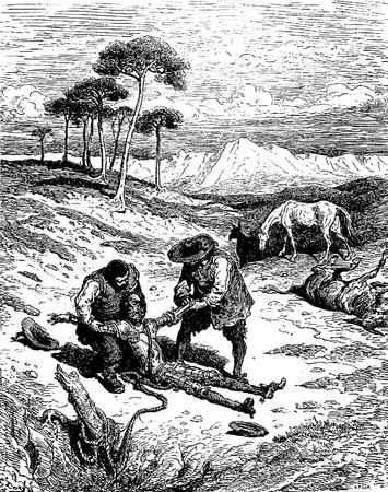 don quijote: El Don sacado de la cueva en un estado comatoso Esta foto es de Don Quijote, Edoardo Perino, la edici�n italiana publicada en 1888, Italia-Rome.The grabado est� hecho por Gustave Dor�.