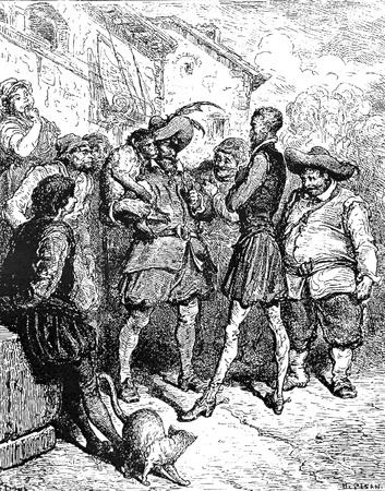 don quichotte: Le Don Pedro interroge Ma�tre-Cette image est de Don Quichotte, Edoardo Perino, l'�dition italienne publi�e en 1888, l'Italie-Rome.The gravure est faite par Gustave Dor�. �ditoriale
