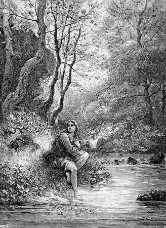 A beautiful young woman, Dorotea, disguised as a boy bathes her feet-This picture is from Don Quixote, Edoardo Perino, the Italian edition published in 1888, Italy-Rome.The engraving is made by Gustave Dore. Editorial