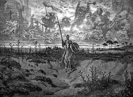 Delusional hero riding in full armour-This picture is from Don Quixote, Edoardo Perino, the Italian edition published in 1888, Italy-Rome.The engraving is made by Gustave Dore.