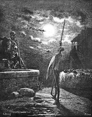 On the eve of his knighthood, the Don performs a vigil in the innyard-This picture is from Don Quixote, Edoardo Perino, the Italian edition published in 1888, Italy-Rome.The engraving is made by Gustave Dore.