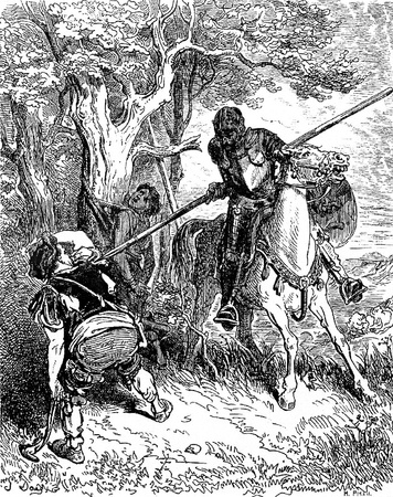 The Don threatens the peasant who was whipping the shepherd boy-This picture is from Don Quixote, Edoardo Perino, the Italian edition published in 1888, Italy-Rome.The engraving is made by Gustave Dore.