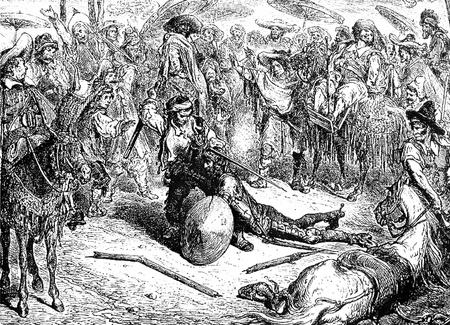 don quichotte: O� se continue le r�cit de notre chevalier Cette image est de Don Quichotte, Edoardo Perino, l'�dition italienne publi�e en 1888, l'Italie-Rome.The gravure est faite par Gustave Dor�. �ditoriale