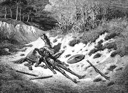 don quichotte: Don Quichotte et Sancho mise hors Cette image est de Don Quichotte, Edoardo Perino, l'�dition italienne publi�e en 1888, l'Italie-Rome.The gravure est faite par Gustave Dor�.