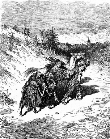 A plowman from his own village brings him home-This picture is from Don Quixote, Edoardo Perino, the Italian edition published in 1888, Italy-Rome.The engraving is made by Gustave Dore. Editorial